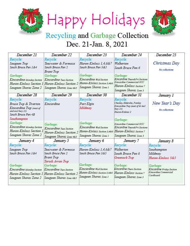 Garbage and Recycling Schedule
