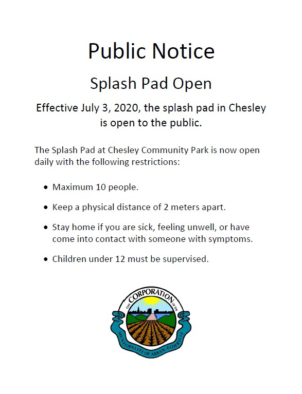 Splash Pad Opening Notice