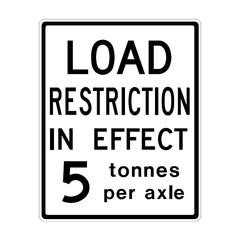 Load restriction in effect
